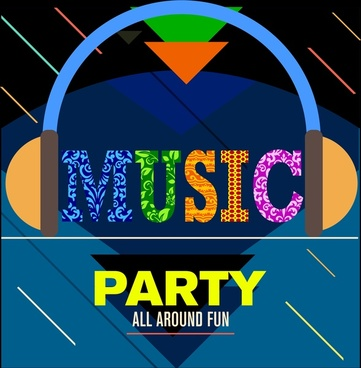 music party banner colorful words and headphone symbol