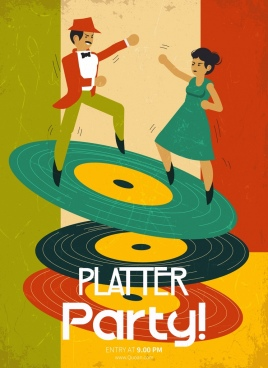 music party banner dancers disc icons retro design