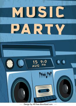 music party banner dark retro design cassette sketch