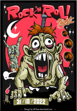 music party banner frightening zombie characters sketch