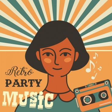 music party banner girl cassette icons retro design
