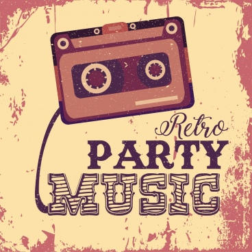 music party banner grunge retro decor cassette tape