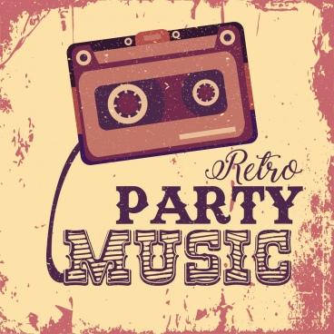 music party banner grunge retro decor cassette tape