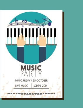 music party banner hand notes and piano design