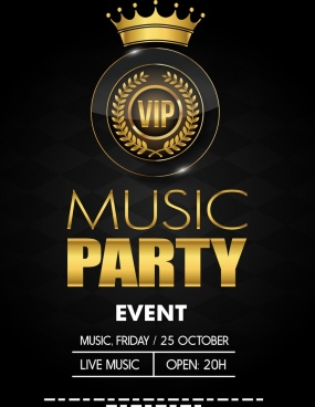 music party banner luxury royal style crown icon