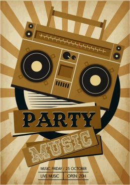 music party banner retro radio icon rays decor