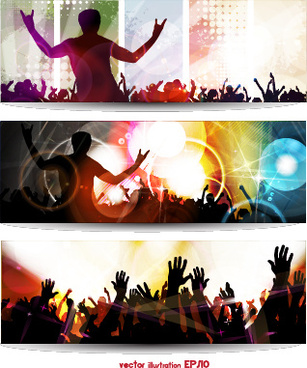 music party creative banner vector graphics