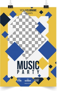 music party flyer template modern geometric checkered decor
