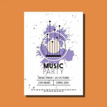 music party leaflet design circles violet grunge decoration