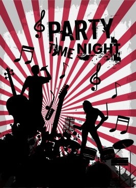 music party poster silhouette retro style rays decoration