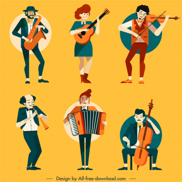 music performer icons colored cartoon characters sketch