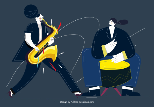 music performer icons trumpet drummer sketch cartoon design