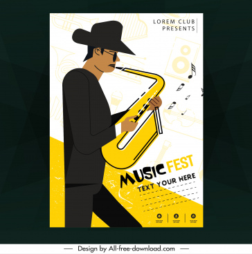 music poster saxophonist icon colored classical design