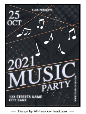 music poster template dark design dynamic notes decor