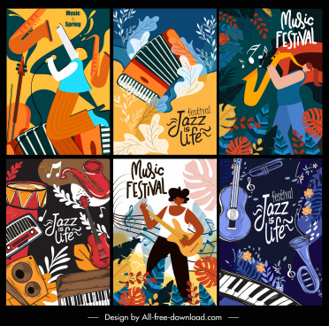 music poster templates colorful dynamic decor classic design