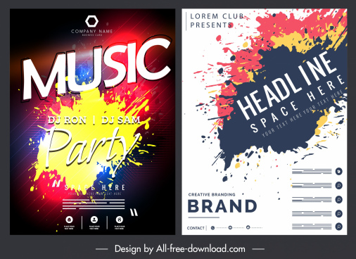 music poster templates colorful grunge ink decor