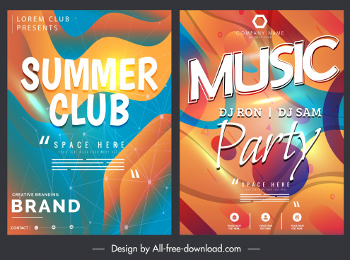 music poster templates colorful modern abstract decor