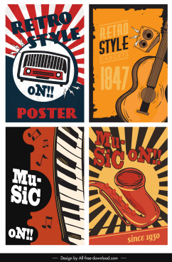 music poster templates colorful retro design