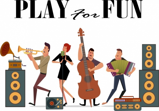 music poster various instruments singers icons cartoon design