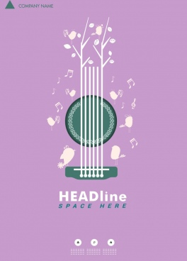 music poster violet background guitar notes birds decoration