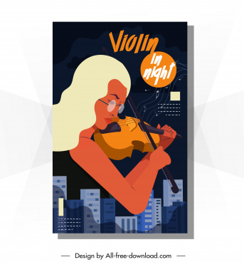 music poster violinist icon colorful dark classical