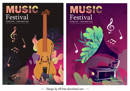 music posters templates instruments notes decor dark classic