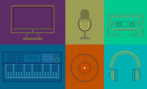 music recorder design elements flat colored sketch