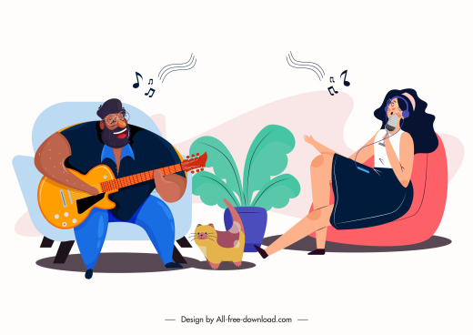 music recreation painting guitarist singer sketch cartoon characters