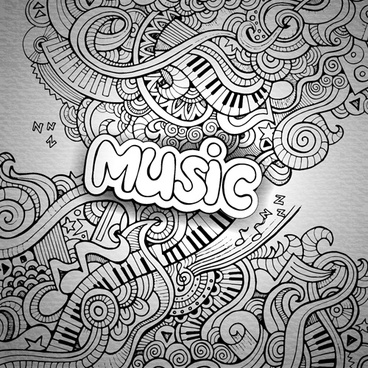 music sketch floral pattern vector background