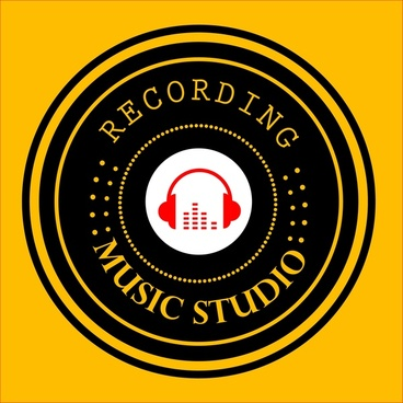 music studio logo round black design headphone icon