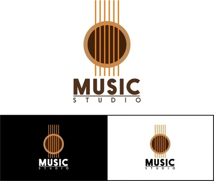 music studio logo sets guitar symbol and texts