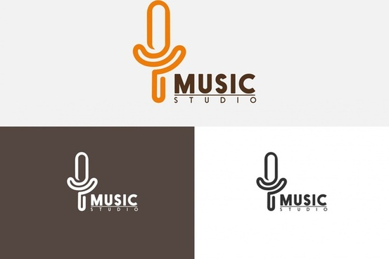 music studio logo sets microphone symbol and text