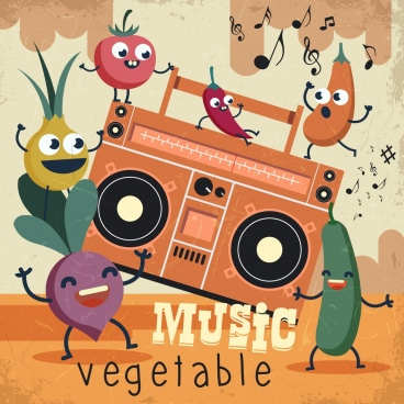 music vegetables background retro design funny stylized icons