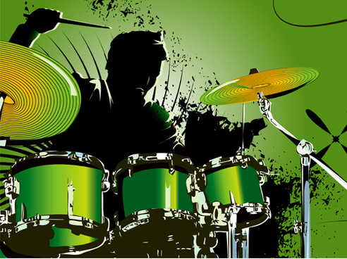 music with drums design elements vector