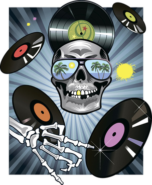 music with skull background art vector