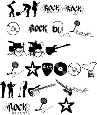 rock music design elements silhouette sketch