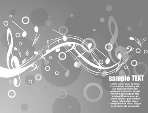 music notes background black white dynamic design