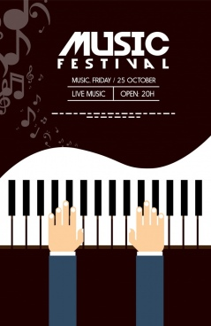 musical festival banner piano icon dark background
