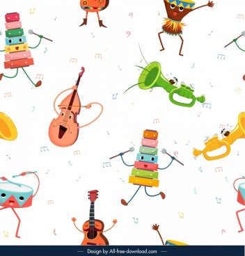 musical instruments pattern colored stylized icons decor