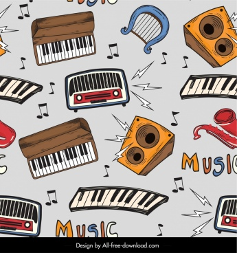 musical instruments pattern colorful classical repeating decor