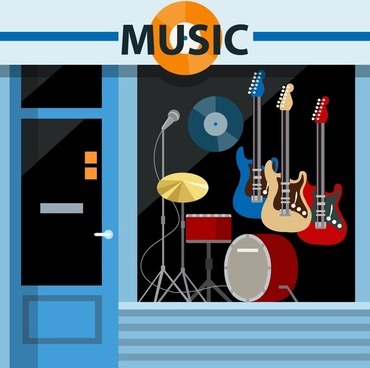 musical instruments store with facade illustration