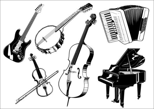 music instruments icons 3d black white sketch