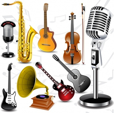 music instruments icons shiny colored modern 3d