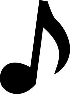 Music notes silhouette. Musical clip free vector