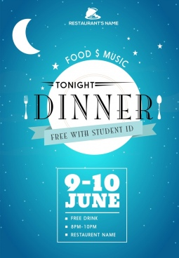 musical restaurant leaflet template moon dishwares icons