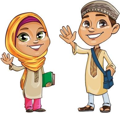 muslim kids vector characters