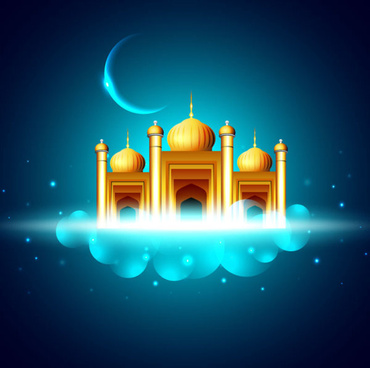 mysterious islam building elements vector