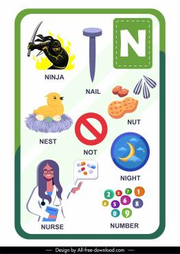 n alphabet education template colorful symbols sketch