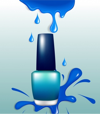 nail paint bottle icon blue splashing ornament