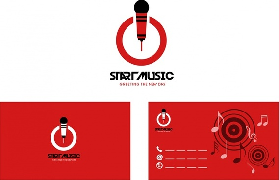 name card design red music symbols decoration